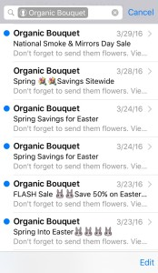Image of a long list of emails from Organic Bouquet.