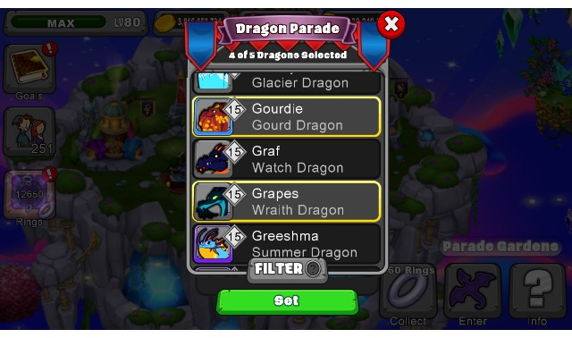 Dragonvale Parade screen shot from the iOS app